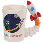 White Mug with white space rocket