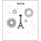 Patch embroidered blue Eiffel Tower
